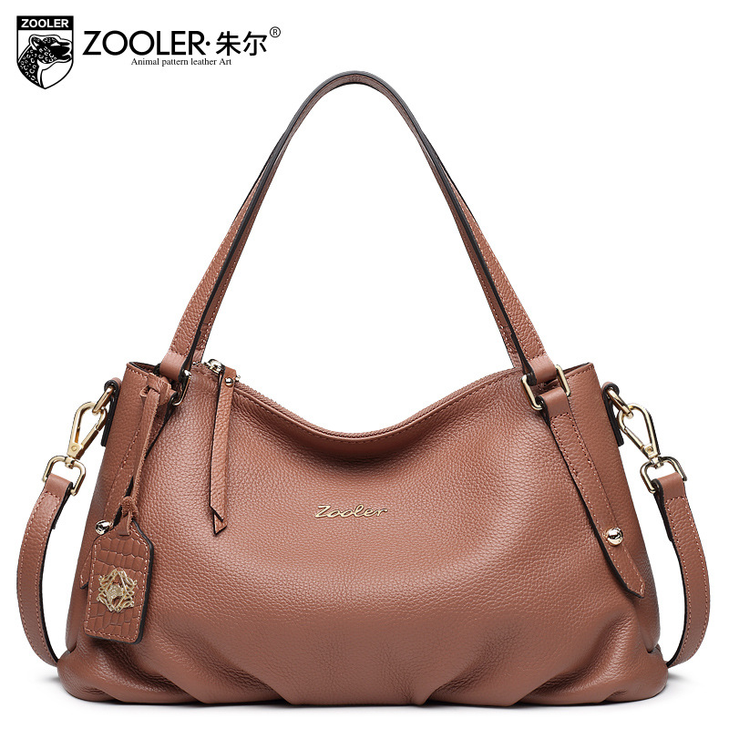 ZOOLER Brown Genuine Leather Handbag American Style Casual Shoulder Bag Ladies Tote Bags Handbags Women Famous Brands Sac A Main
