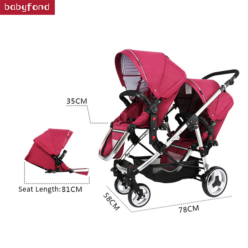 Gêmeos Carrinho de Bebê Minie Micky Luxo Carrinho De Bebê Duplo Carrinho de Carrinhos Para Gêmeos Carrinhos Para Recém-nascidos dois carros de bebê Leve
