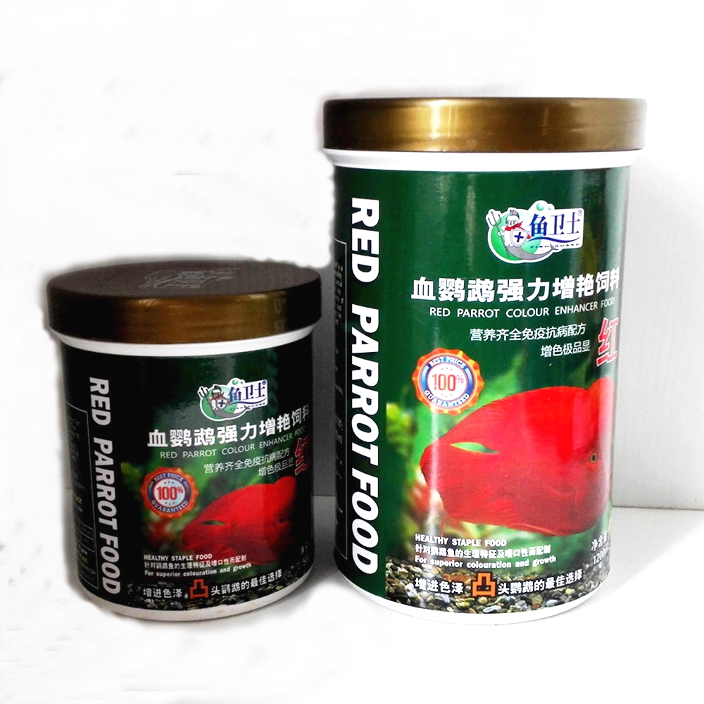 Aquarium Healthy Floating Fish táplálék a Red Blood Parrot-ra Kiváló színezés Gyors növekedés takarmány 500 / 1200ML granulátum 2-4MM