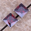 Sparkly Red Created Garnet 925 Sterling Silver Stud Earrings For Women  S0216