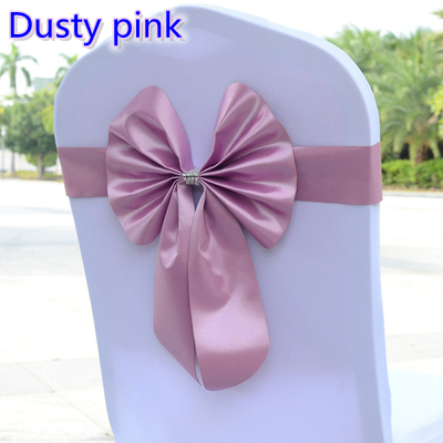 Dusty Pink Colour Chair Sash Butterfly Style Bow Tie