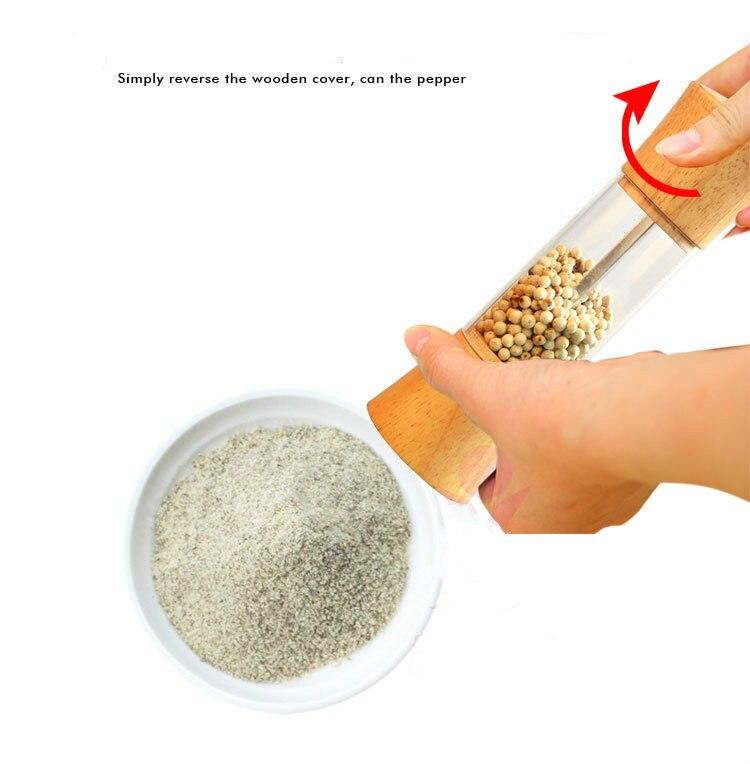 6 inch Cooking wooden oak pepper spice mills grinder 1