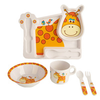 Sisi Tommy 5pcs Dinnerware Set For Kids Children BPA Free Melamine Plate Bowl Sippy Cup Cutlery