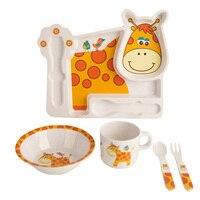 Sisi & Tommy 5 pz Set For Kids Bambini BPA Libero Melamina Stoviglie Ciotola Piatto Tazza Sippy Posate Disegno Animale A1 CH094-CP5