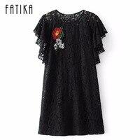 FATIKA Women New Fashion Sexy Lace Flower Pattern Embroidery Butterfly Sleeve Dress O Neck Mini Casual