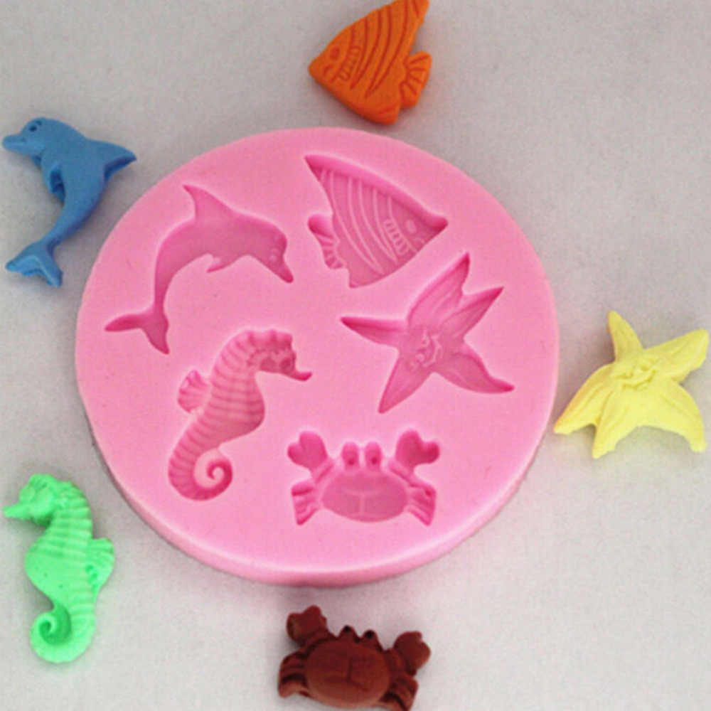 1PCS New Fondant Soap Chocolate Moulds Sea Beach Starfish Fish Dolphin Crab Mold Silicone Cake Sugarcraft Mold