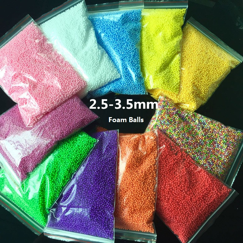 Colorful DIY Snow Mud Particles Accessories Slime Balls Small Tiny Foam Beads For Floam Filler DIY Supplies 2.5-3.5mm