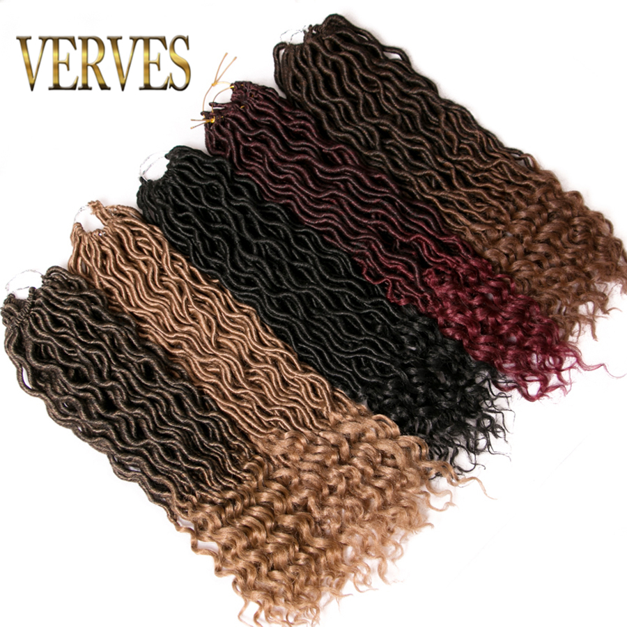 VERVES curly Crochet Hair Extensions 18 inch 1-9 pack 24 strands/pack Braids Ombre Kanekalon Braiding Hair Synthetic