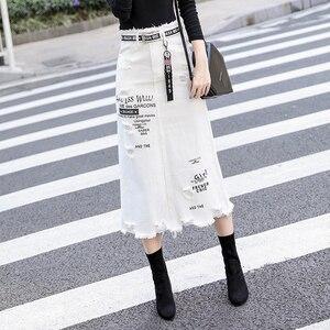 Image 4 - Kobiety z przodu z dziurami, dżinsowe spódnica 2020 nowa moda wiosna letnie, długie spódnice wysokiej talii na co dzień białe dżinsy spódnica Plus rozmiar 5XL
