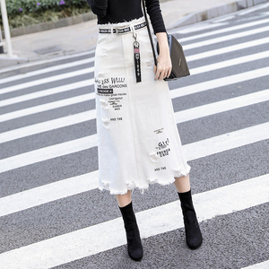 Image 4 - Women Front Hole Denim Skirt 2020 New Fashion Spring Summer Long Skirts High Waist Casual White Jeans Skirt Plus Size 5XL