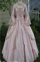 Изготовленные на заказ светло розовые Сатиновые платья со времен Марии Антуанетты 18 век бальное платье