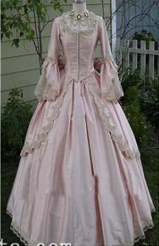 Vlastní 18. století světle růžová saténová Marie Antoinetta období šaty plesové šaty