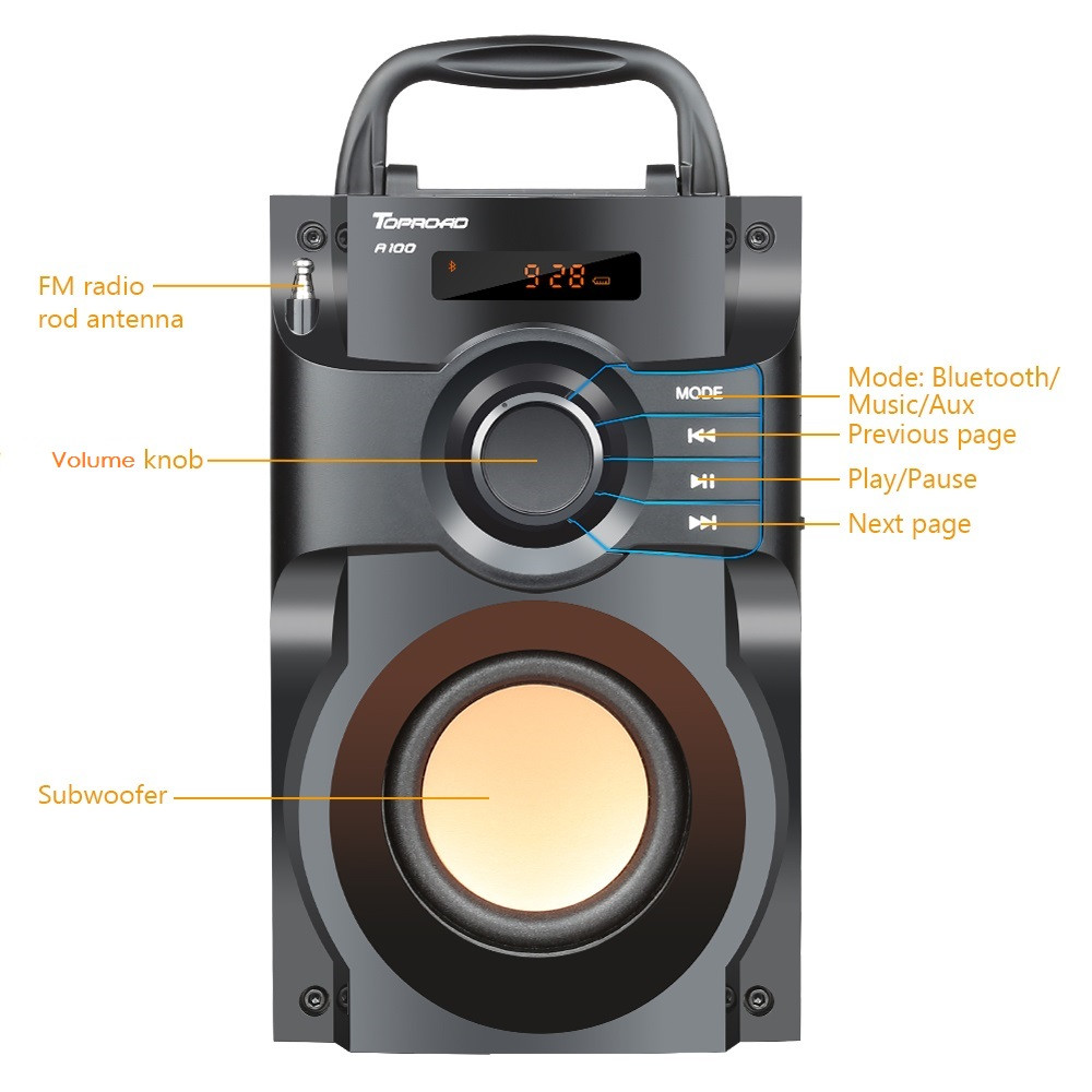 Image 2 - TOPROAD Wireless Bluetooth Speaker Stereo Subwoofer Bass Speakers Column Soundbox Support FM Radio TF AUX USB Remote Control-in Outdoor Speakers from Consumer Electronics