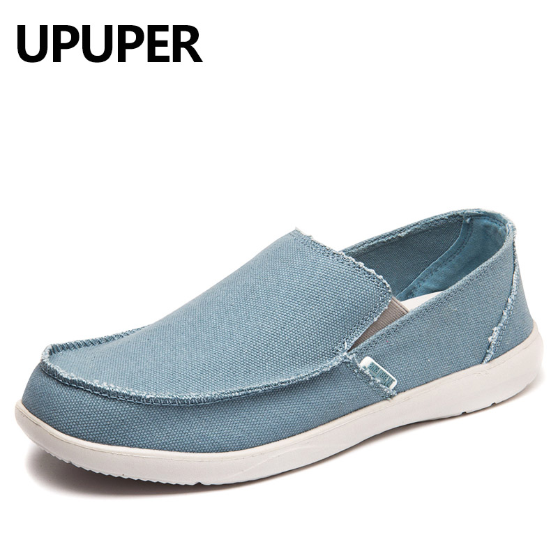 UPUPER Canvas Sko Herre Sneakers Breathable Ultra Light Loafers Slip-On Herre Casual Shoes Hot Sale Spring Walking Flat Shoes