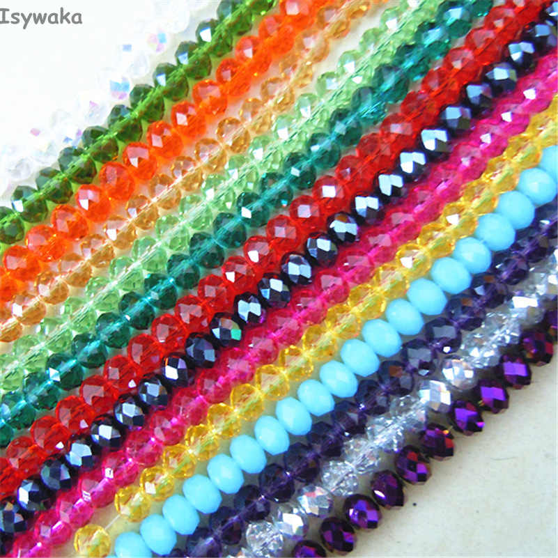 Isywaka U Pick 18 Colors 4*6mm 50pcs Rondelle  Austria faceted Crystal Glass Beads Loose Spacer Round Beads for Jewelry Making