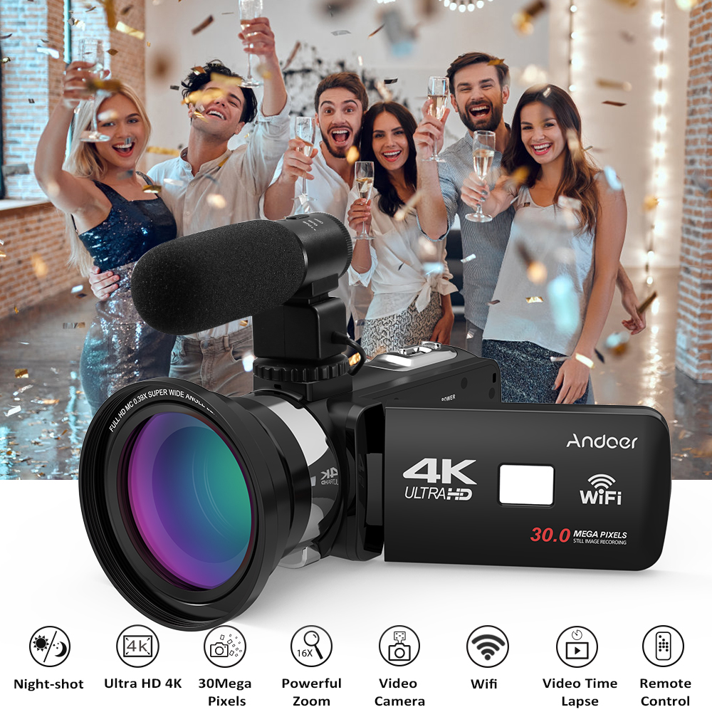 Andoer 4K Ultra HD 3 0 LCD Touchscreen WiFi Digital Video Camera Camcorder DV Recorder 16X