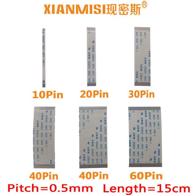 US $1 66 |FFC/FPC Flat Flex Extension Cable 10Pin 20Pin 30Pin 40Pin 50Pin  60Pin Same Side 0 5mm Pitch AWM VW 1 20624 60V Length 15cm 5PCS-in Data