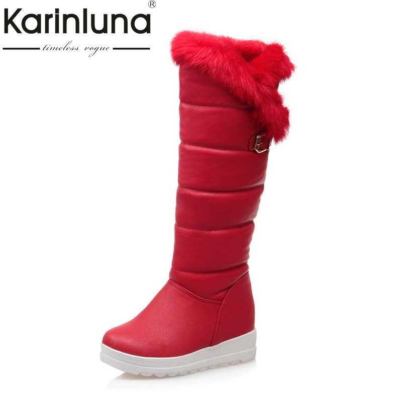 KARINLUNA Large Size 34-42 Winter Warm Fur Shoes Women leisure Knee High Snow Boots  Waterproof Platform Wedges Heel red black