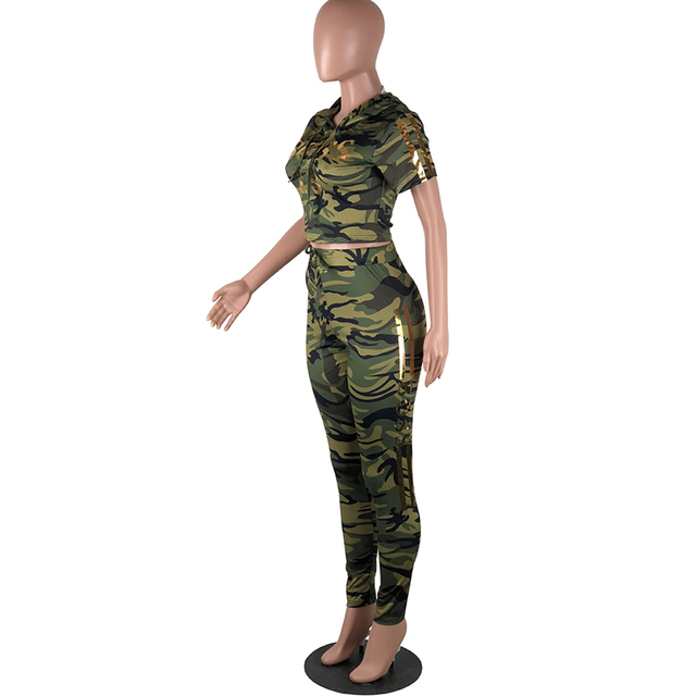 Women's Camouflage Print Plus Size Crop Top and Leggings  S-XL