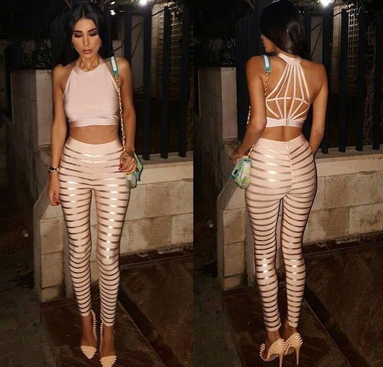 wholesale new piece pants apricot Stretch knit Indian gold Two Piece Set bandage pants H1083