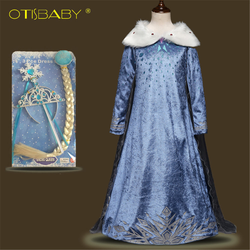 New Girls Elsa Costume Blue Snow Queen Princess Dress up with Long ...