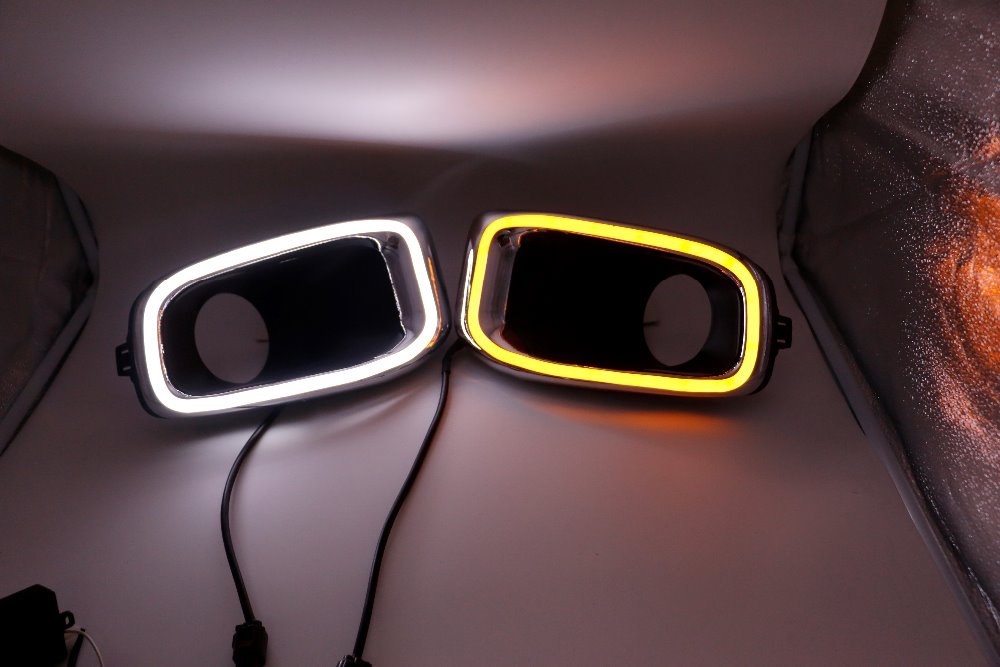 Osmrk led drl daytime running light for Jeep renegade with yellow turn signal, wireless switch control цена