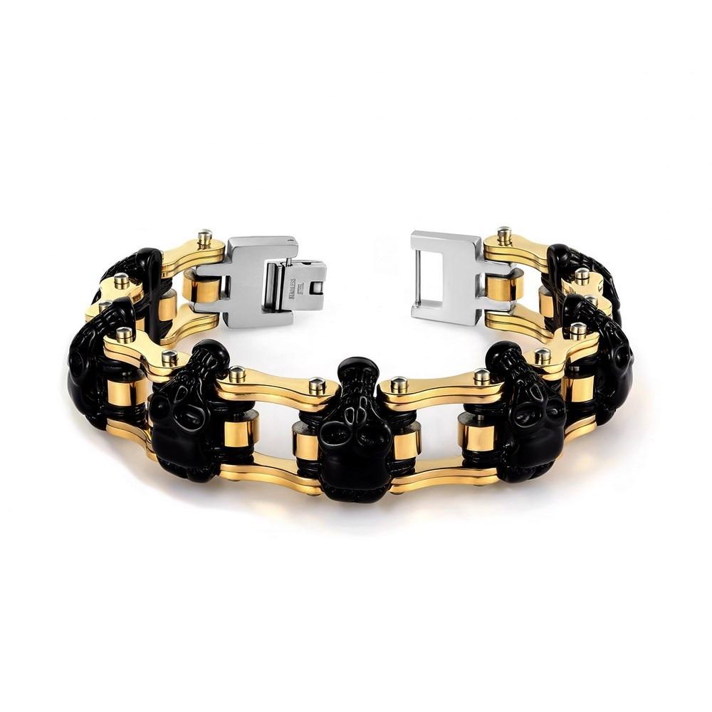 Skull stainless steel Men bracelet biker jewelry opk biker stainless steel men bracelet