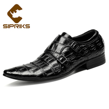 SIPRIKS mens classic crocodile skin shoes black double monk straps pointed toe burgundy dress shoes with buckle straps european