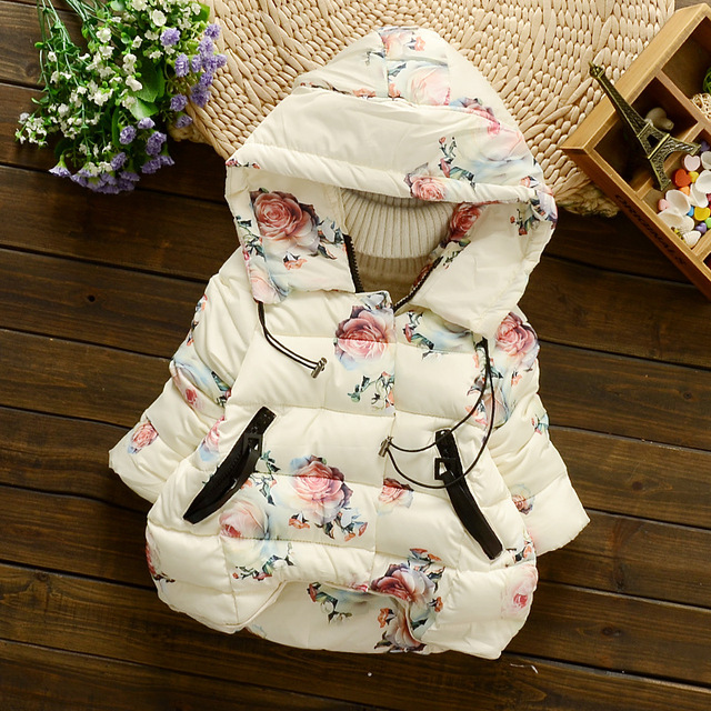 c76e70e2a1a7 New Baby Girls Cotton Winter Coat Baby Infants 1-2-3-4-year-old Rose Flower  Hooded Jacket Pretty Warm Outerwear for Kids