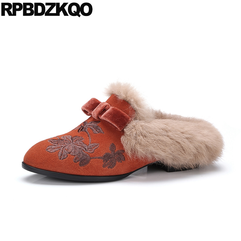 Floral Rabbit Flats Chinese Embroidered Shoes Fur Designer Slippers Mules Embroidery Women Blue Ethnic Suede Luxury Flower Brand vintage embroidery women flats chinese floral canvas embroidered shoes national old beijing cloth single dance soft flats