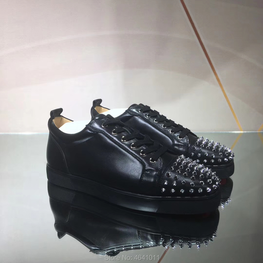 Luxury Lace Up cl andgz Black leather Red bottoms shoes Low Cut For Men Leisure Silver