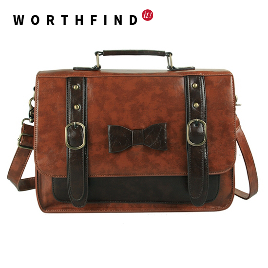 WORTHFIND Women Messenger Bags Large Space Briefcase Women Leather Handbags Nice Quality ...