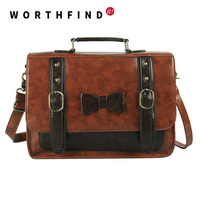 2015 New Women Messenger Bags Large Space Briefcase Vowknot Women Leather Handbags High Quality Women Clutch