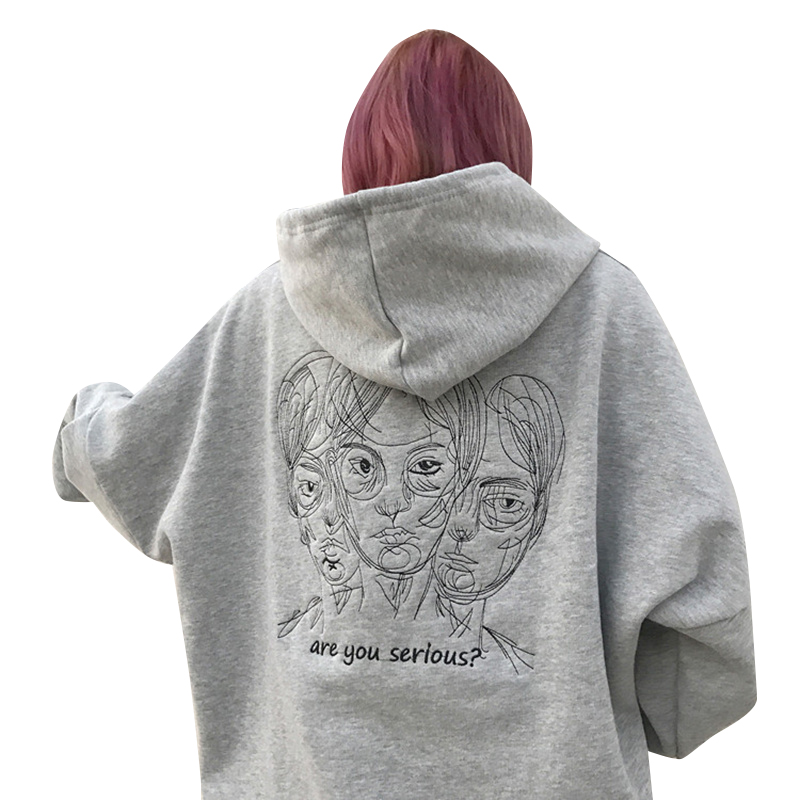 Lychee Harajuku Punk Autumn Winter Women Hooded Sweatshirt Head Embroidery Long Sleeve Casual Loose Fleece Hoodies Tracksuit