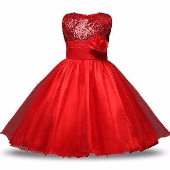 2017 Sequin Wedding Costumes Princess Girls Dresses for Formal Wear Children's Tutu kids Prom Dress Flower Girl Clothes