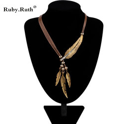 Necklace alloy feather statement necklaces pendants vintage rope chain necklace women accessories wholesale jewelry.jpg 250x250