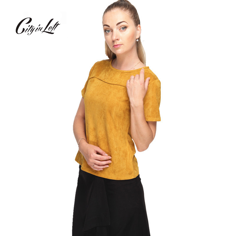 Plus Size Custom Women T Shirt Short Sleeve Solid Color Ginger Suede T Shirt O Neck