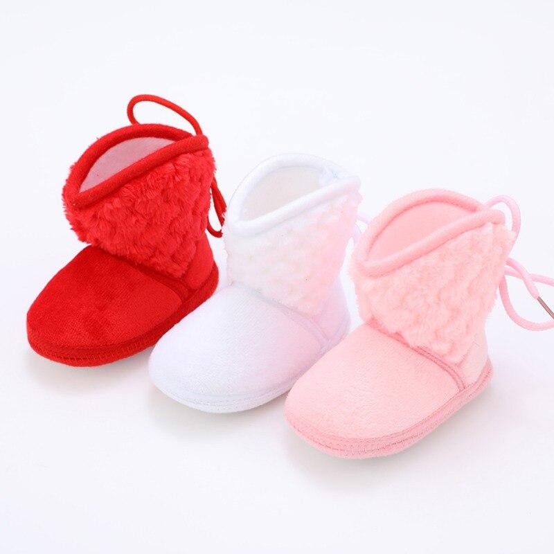Newborn Kids Baby Boots Winter Plus Velvet Tie Flowers Warm Baby Girl Shoes 0-18M