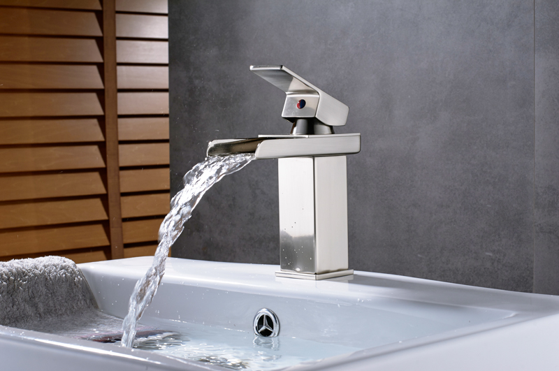 HTB1igp4asfrK1Rjy1Xdq6yemFXaE Rozin Hot cold basin faucet Waterfall Bathroom Vanity Sink Faucet Single Lever Chrome Brass Hot and cold Basin Washing Taps