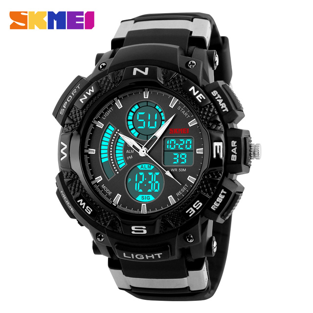 SKMEI Men's Watches Luxury Brand Outdoor Sport Dual Time Zone Quartz Digital Watch Men Multifunction Waterproof Wristwatches