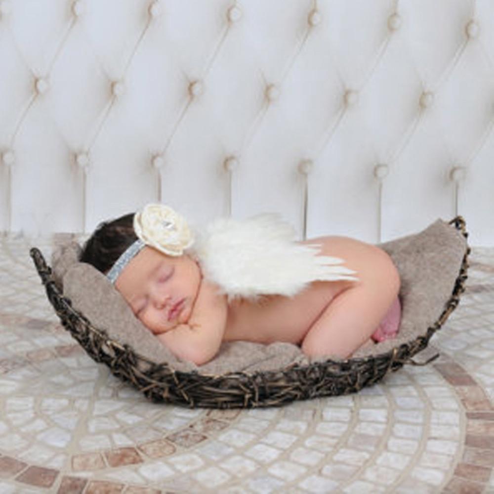 Baby Photo Props Toddler Kids Girls Angel Wings Set Newborn Unisex