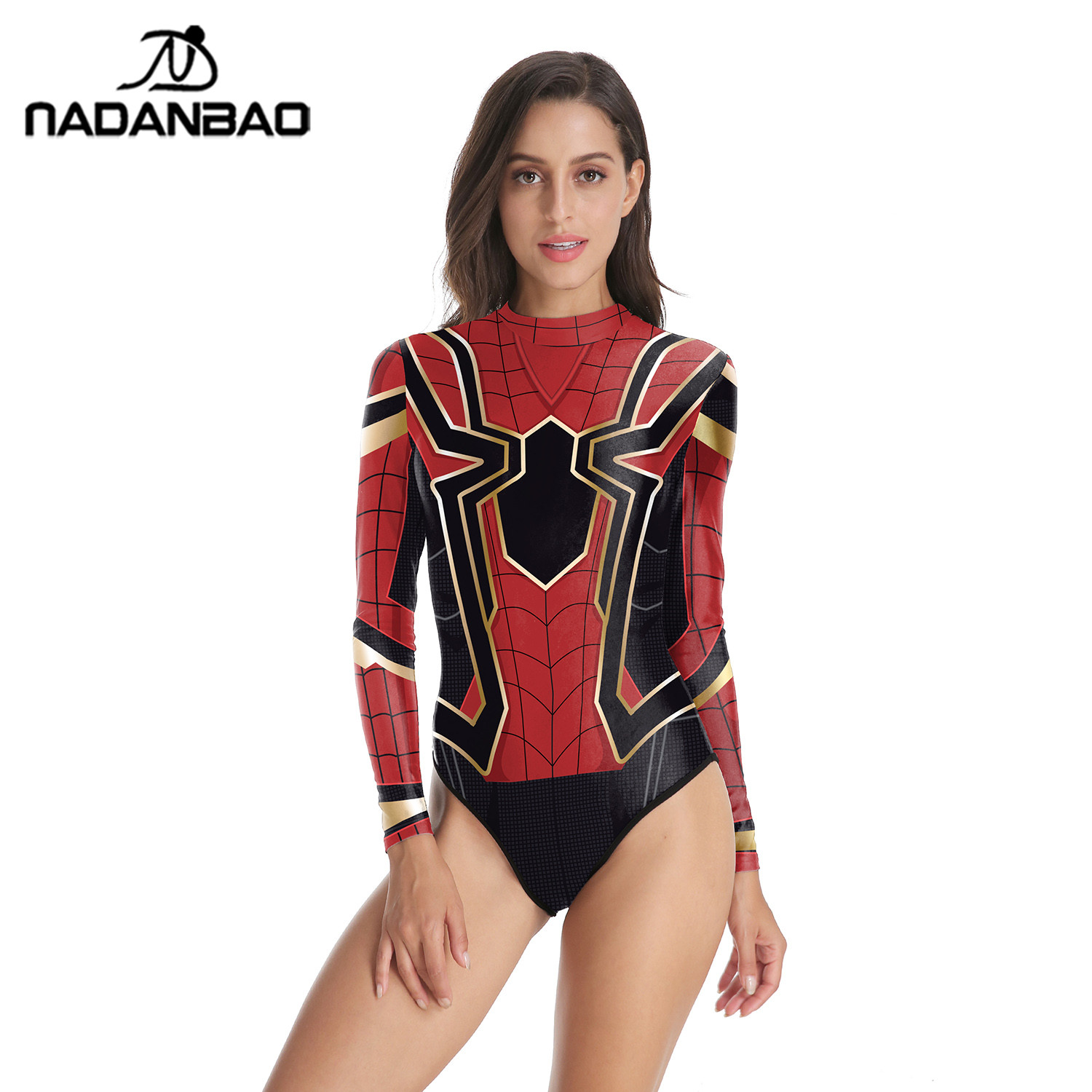 2019 One Piece Swimsuit 3D Printing Long Sleeve Zippered Surfing Deadpool Sexy Bathing Suit Women De Bano Women Swim Suit in Body Suits from Sports Entertainment