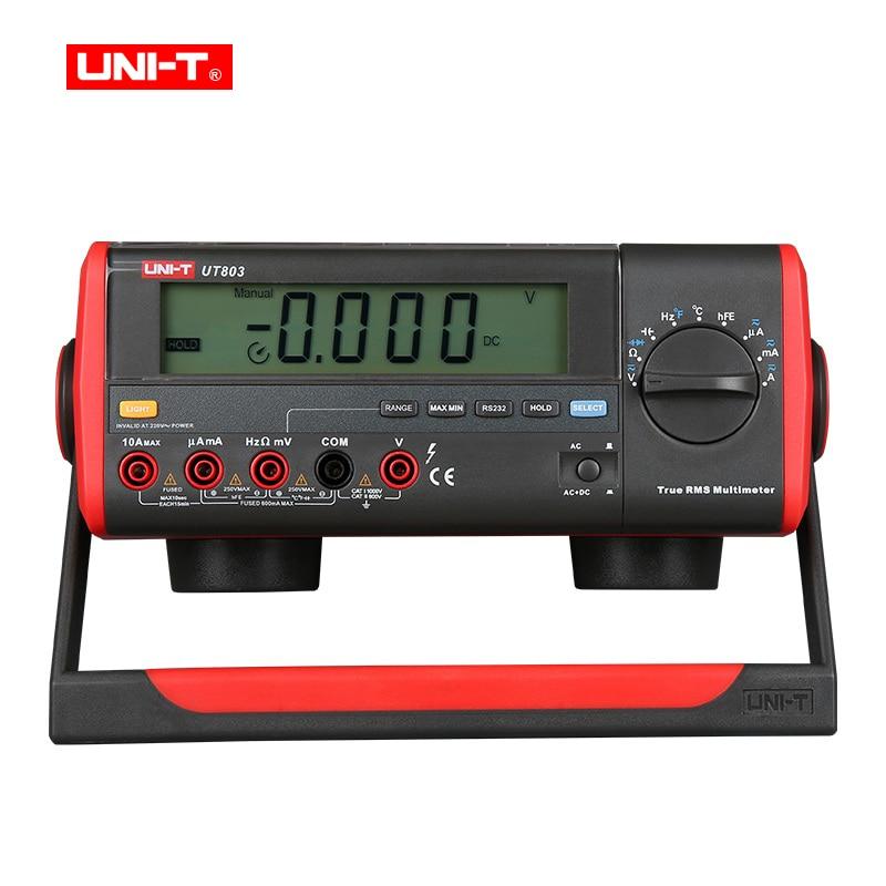 True RMS Bench Type Digital Multimeter UT803 With RS232C USB Interface, LCD Backlight Display, Data Hold,Ammeter Multitester цена