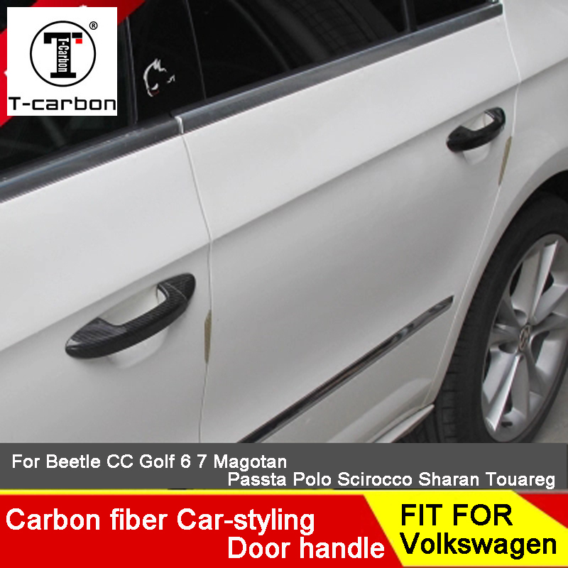 Carbon Fiber Auto Door Handle Knob Exterior Trim Covers For Volkswagen Gran Lavida Passat Golf 6 Scirocco Bora Sharan Touareg чехлы для автокресел lavida hatchards h230 seatpad sylphy lavida
