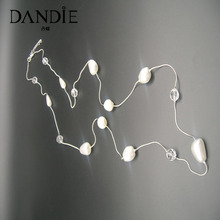 Dandie Fashion Long Chain Imitation Pearl And Transparent Acrylic Bead Jewelry Necklace