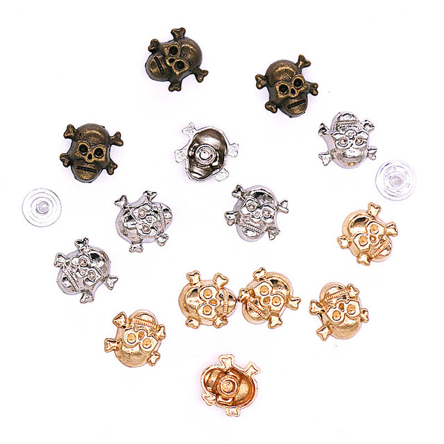 eea9b4a84 50 sets/pack 12*12mm shoes clothes skull skeleton ghost head rivets rivet  spike studs alloy punk Gold studs for leather H 11-in Garment Rivets from  Home ...