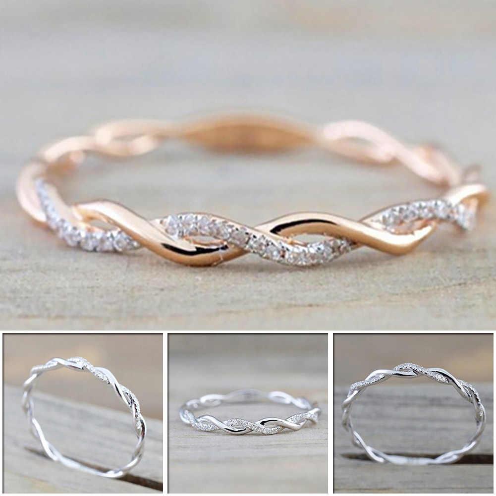Bulat Cincin untuk Wanita Tipis Warna Rose Gold Twist Rope Susun Cincin Pernikahan Tembaga Bijoux