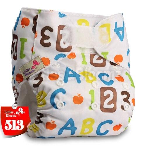 [Littles&Bloomz] Один размер многоразовые тканевые подгузники Моющиеся Водонепроницаемые Детские карманные подгузники стандартная застежка на липучке - Цвет: 513
