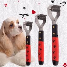 Pet Long Short Hair Grooming Shedding Brush Comb Rake Metal Blade dele q 003 dog comb pet brush rake metal blade