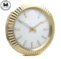 Luxury Design Watch Shape Stainless Steel Clock Metal Wall Clock with Luminous for Home Decortaion